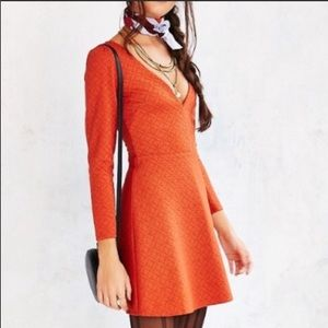 Cooperative | Urban Outfitters Deep V Orange Dress